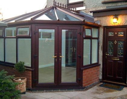 Rosewood on white Victorian conservatory with active k self cleaning glass roof.
